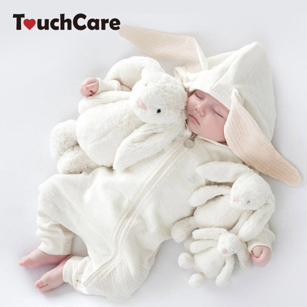 купить Baby Bunny Ear Rompers Infant Rabbit Jumpsuit Outfit Cotton Boys Girls Hare Playsuits Hooded Clothes Bunny Pajamas Ruffle Romper по цене 801.69 рублей