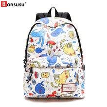 купить Bansusu Style Soft Fabric Fashion Backpack Female Design School Backpack For Girls Animal print Backpack Women Travel backpack по цене 1406.83 рублей