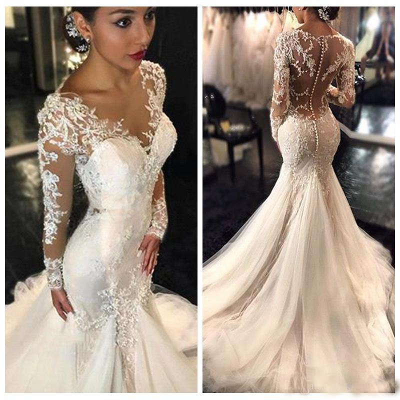 2019 Gorgeous Lace Mermaid Wedding Dresses Dubai African Arabic Dresses Petite Long Sleeves Natural Slin Fishtail Bridal Gowns