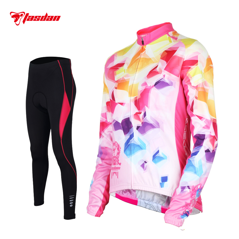 Tasdan Women Cycling Jersey Set Long Sleeve Winter Racing Team Sports Wear MTB Road Bicycle Bike Jersey Cycling Clothing gore bike wear women s xenon lady jersey