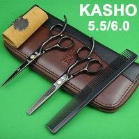 High Quality Kasho Scissors Japan 440C Professional Hairdressing Scissors Hair Cutting Scissors Thinning Scissors Set for Barber