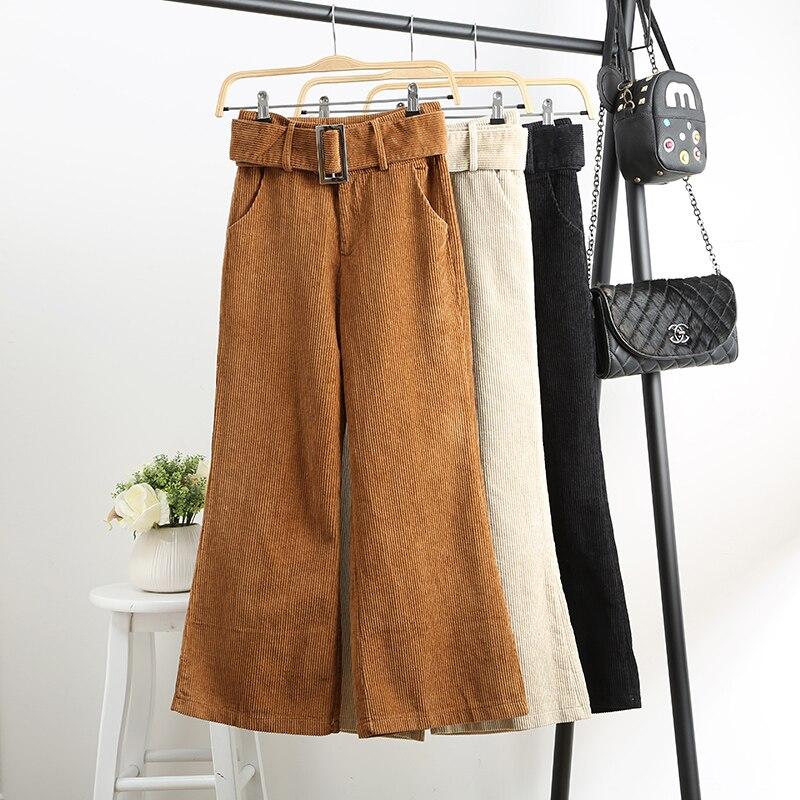 Autumn Winter Women's Corduroy Pants New High Waist Loose Wide Leg Pants Women Corduroy Trousers Casual Pants Capris