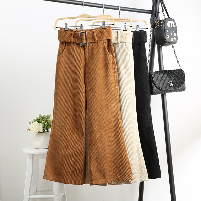 Autumn Winter Women's Corduroy   Pants   New High Waist Loose Wide Leg   Pants   Women Corduroy Trousers Casual   Pants     Capris