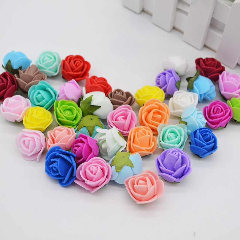 50pcs/lot 2cm Mini PE Foam Rose Artificial Flower Heads For Home Decorative Wreath Supplies Wedding Birthday Party Decoration
