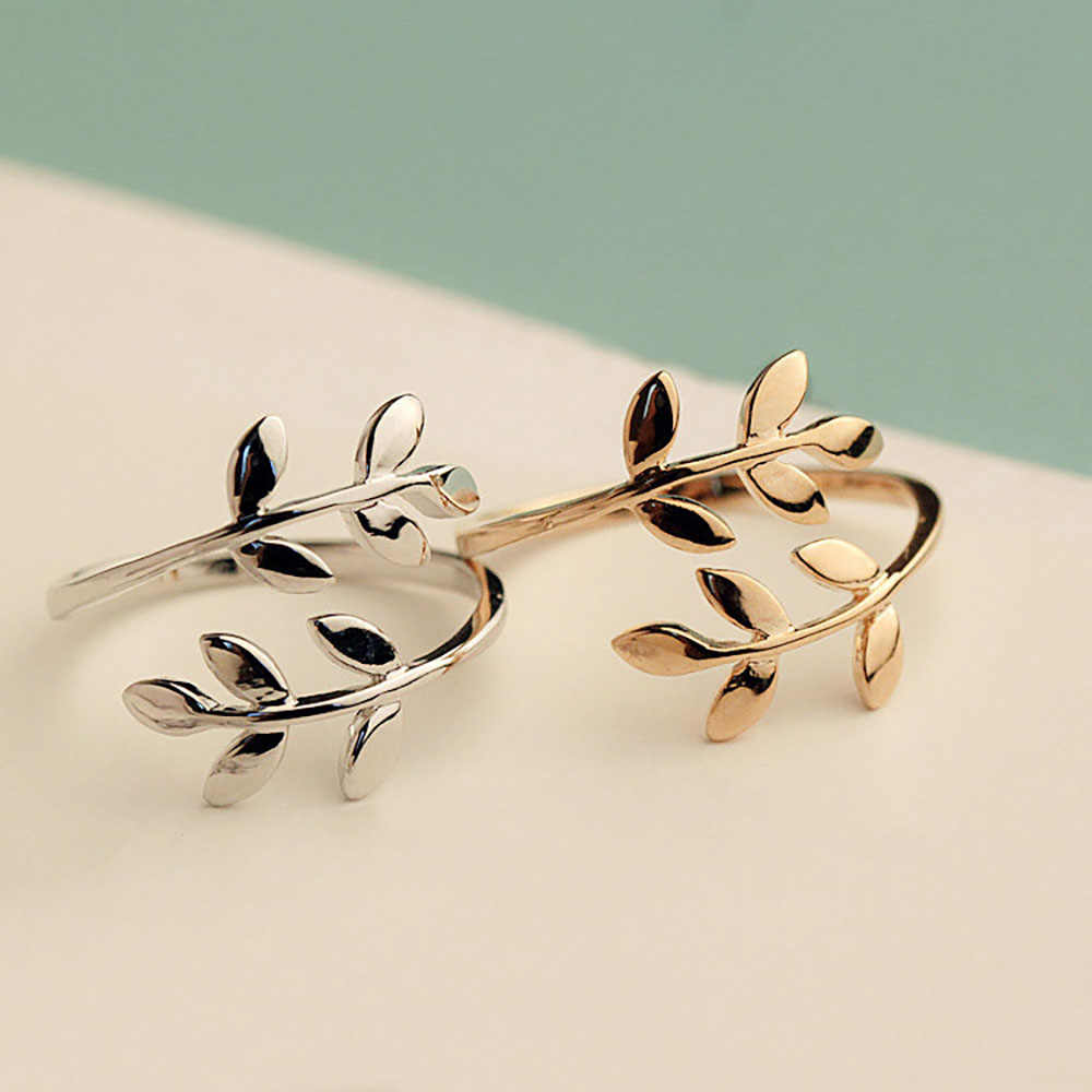 FAMSHIN Fashion Gold Silver Rose Color Tree Branch Leaves Open Ring for Women Wedding Rings Adjustable Knuckle Finger Jewelry
