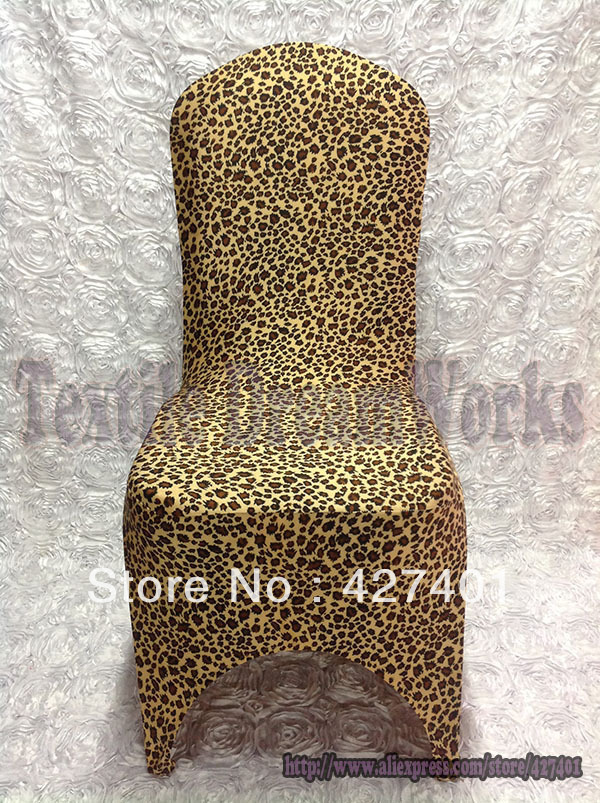 New Products Hot Sale Leopard Print Lycra Chair Cover Arch Front