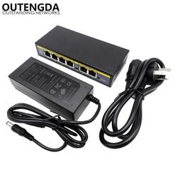 4 + 2 porty PoE Power Over Ethernet przełącznik nadaje się do Hikvision DAHUA kamery monitorujące z 802.3af/at PoE zasilany energią słoneczną urządzenia