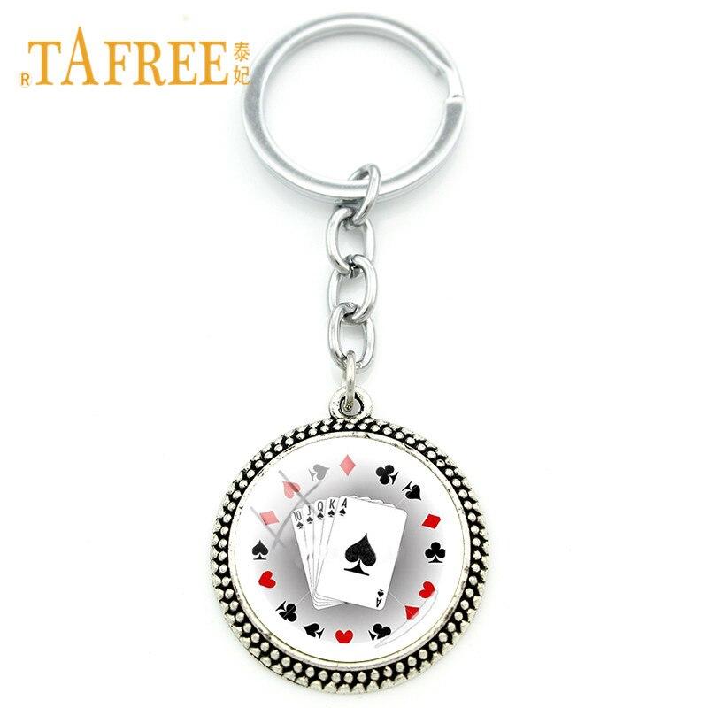 TAFREE Fashion Poker Card Key Chain Club Personality Poker Keychains Key Rings Keyrings Best Gift Car Key Charm Wholesale PO15