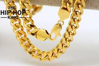 New Fashion 18K Gold Plated Copper Hip Hop Cuban Curb Chain 10mm Width 76cm Length Necklace