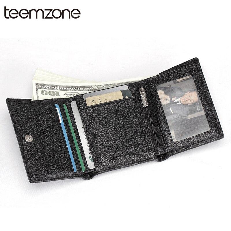 Teemzone FashionMen RFID Blocage Véritable Pliante En Cuir Mince Portefeuille Permis de Conduire ID Portefeuille Réception Titulaire ID Fenêtre Q440