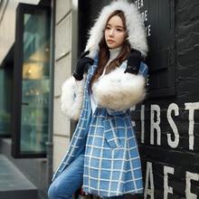 DABUWAWA Original 2016 Brand Autumn and Winter Jacket Plus Size Real Fur Collar Hooded Elegant Long Wool Women Blue Plaid Coat