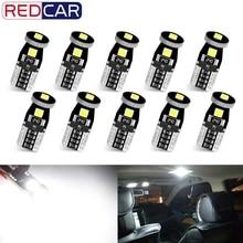10Pcs T10 Led Canbus W5W Led 전구 168 194 6000K 화이트 신호 램프 돔 라이센스 플레이트 라이트 자동차 인테리어 조명 자동 12V