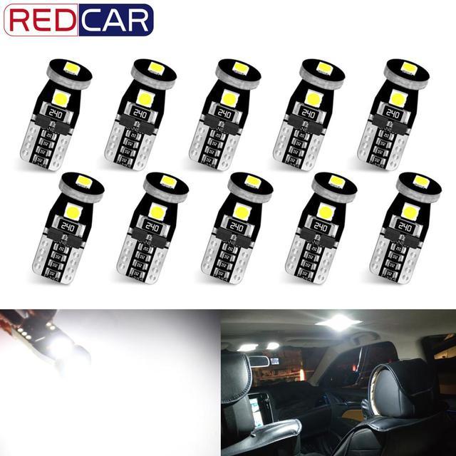 10Pcs T10 Led Canbus W5W Led Bulbs 168 194 6000K White Signal Lamp Dome Reading License Plate Light Car Interior Lights Auto 12V