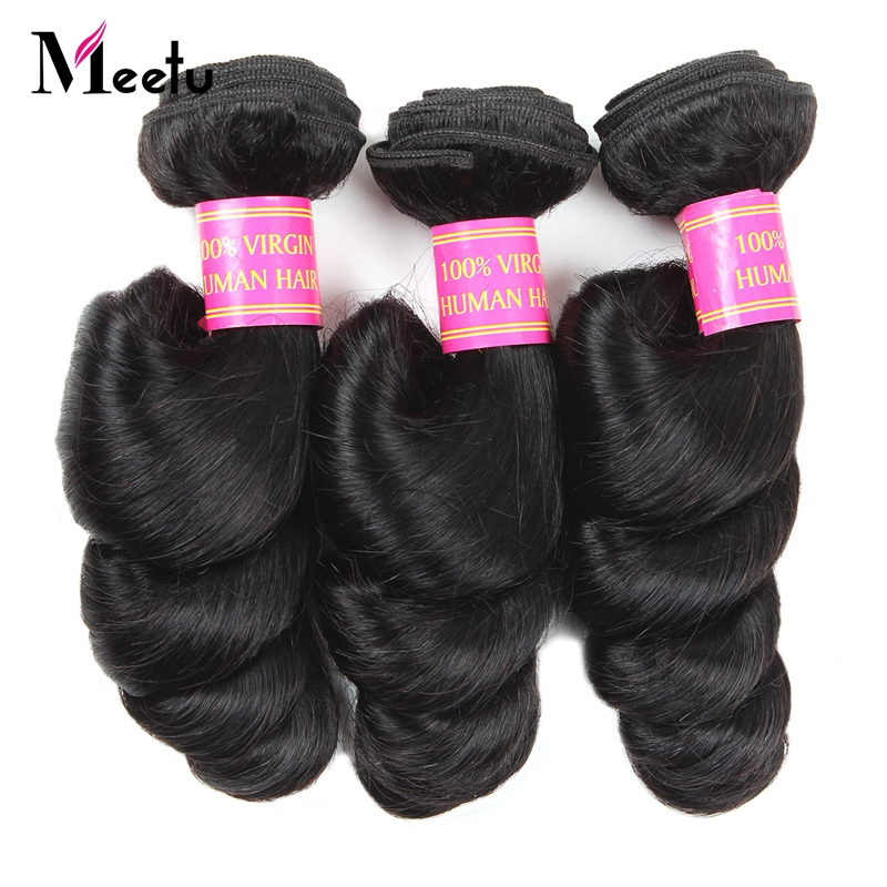 Meetu Indian Loose Wave Human Hair Bundles 1 Pc 100% Human Hair Weave Non-Remy Hair Natural Color Can Be Dyed Hair Extensions