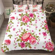 A طقم سرير 3D لحاف مطبوع غطاء طقم سرير الزهور مصنع المنسوجات المنزلية للبالغين أغطية مع المخدة # XH07
