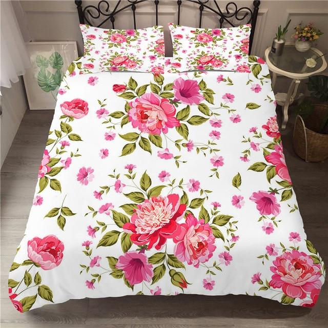 Juego de cama con estampado 3D de edredón, juego de cama Textiles para el hogar para adultos con flores, ropa de cama con funda de almohada # XH07