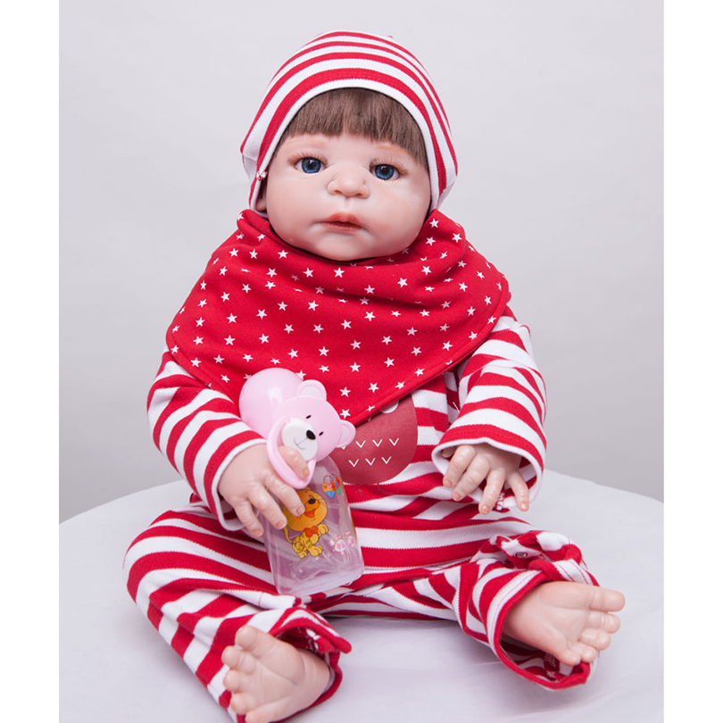 55cm Full Silicone Reborn Baby Doll Toy Like Real 22inch Newborn Princess Toddler Babies Alive Doll Girl Bonecas Birthday Gift 55cm silicone reborn baby doll toy lifelike newborn toddler princess babies doll with bear girls bonecas birthday gift present