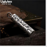 Uglyless Real 990 Pure Silver Opening Box Pendants Necklaces NO Chains Handmade Vines Cylinder Pendant Thai Silver Fine Jewelry