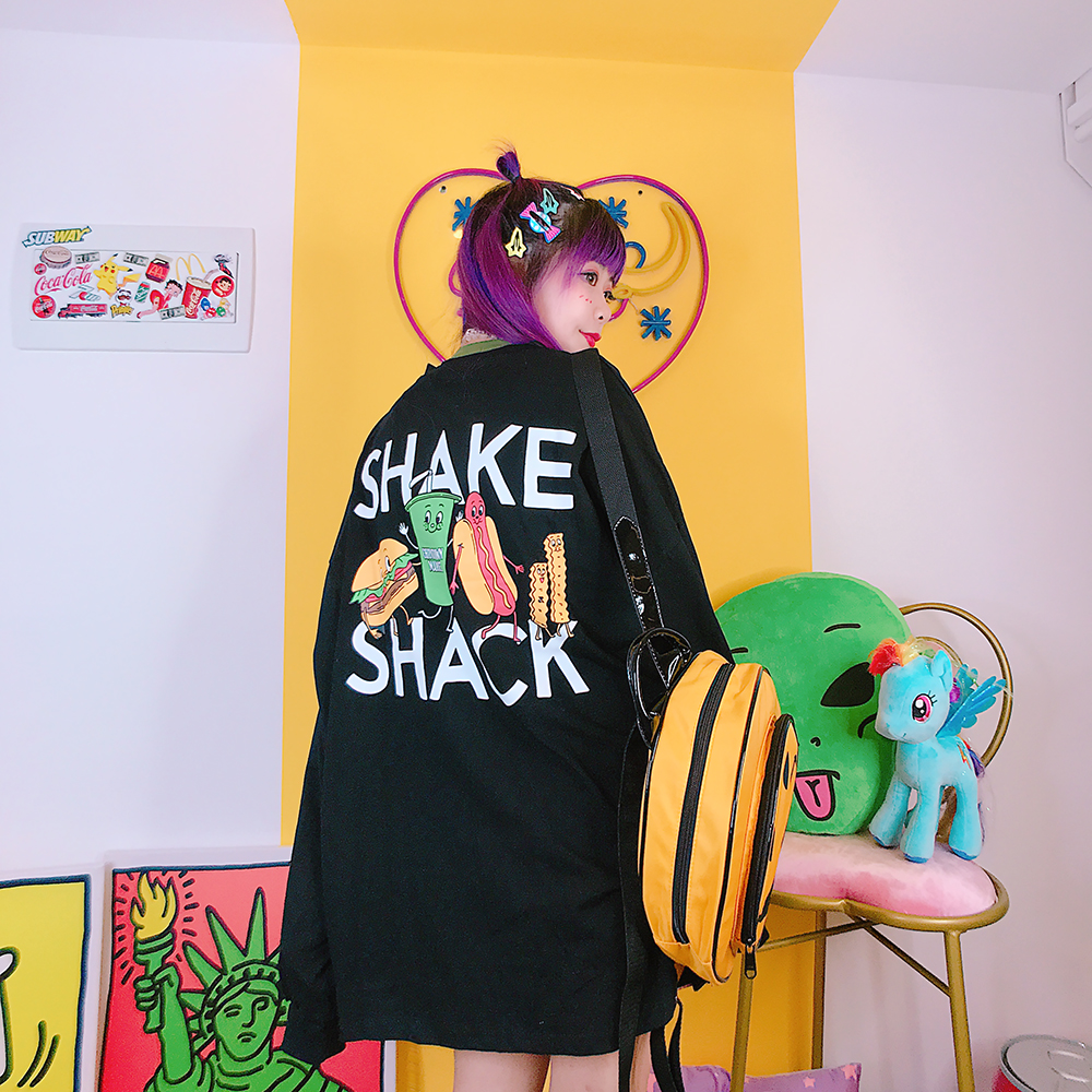 white Harajuku Medium Air Black Clothes Length Sweatshirts Lazy Hamburger Sleeves orange Long Women's 7qrHn7OA