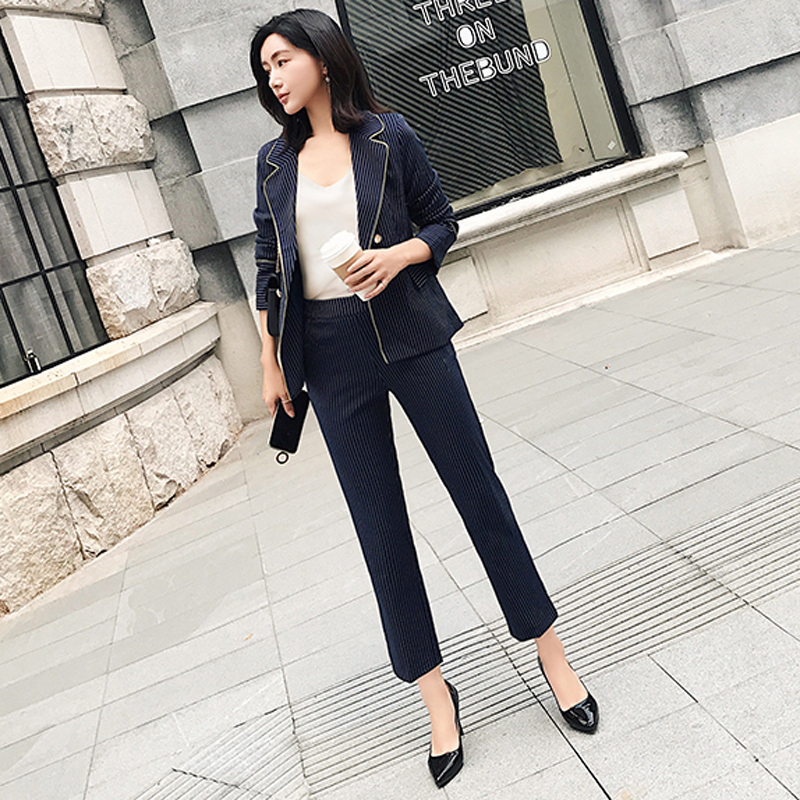 Double Breasted Dark Blue Striped Pant Suits For Women V-neck Blazer Jacket & Pencil Pants 2 Pieces Set OL Female Sui