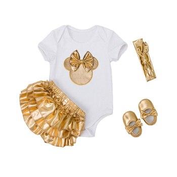 4 개/대 아기 소녀 옷 세트 유아 신생아 의류 면화 rompers ruffle bloomers 신발 머리띠 ropa de bebes infantil