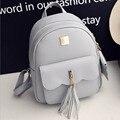 Famous Design 2pcs/set Solid Leather Tassel Pendant Backpack Vintage Preppy School Bags Composite Rucksack Clutches Bag Mochila