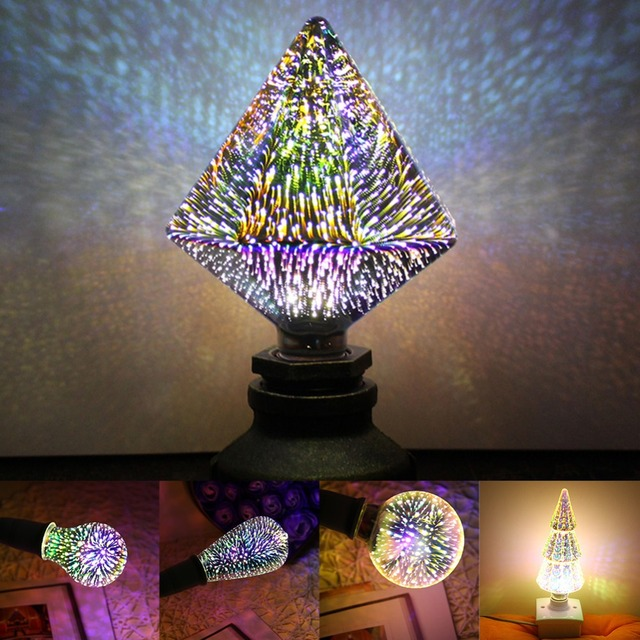 LED Light Bulb E27 3D Fireworks Effect Light Decorative Edison Bulb AC 85-265V Party Lamp Holiday Christmas Home Decoration Lamp