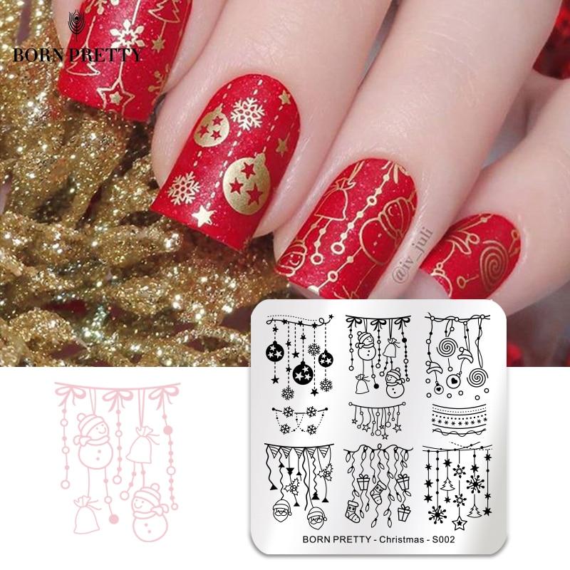 BORN PRETTY Christmas Nail Stamping Plate Snow Santa Clause Pattern Square Nail Art Stamp Template New Year Nail Stencil