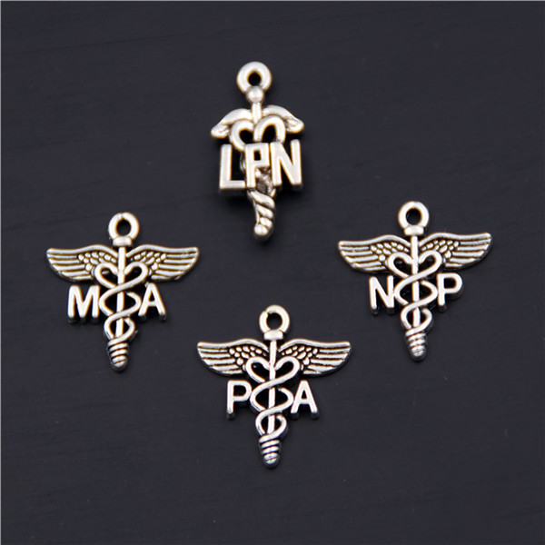 Free Shipping 10pcs Antique Sliver LPN Practical Nurse Medical Sign PA MA NP Charm DIY Necklace Bracelet Bangle Findings