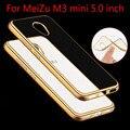Para meizu m3/m3s case lujo chapado en oro rosa de cristal tpu case para meizu m3 mini/m3s mini clear case de silicona suave cubierta trasera