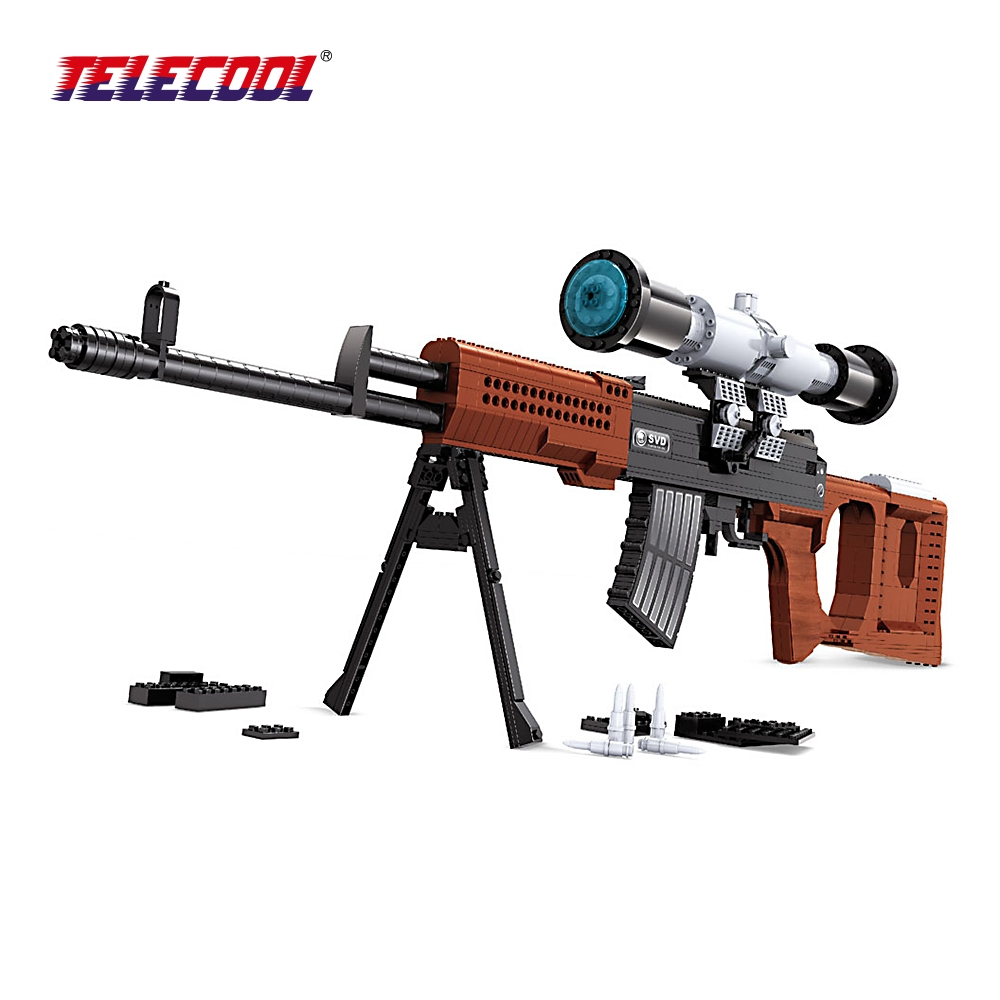 TELECOOL SVD Sniper Rifle Scale Model Building Toy Military Weapon Simulation Gun Assemblage Blocks For Kids Classic Toy 712 PCS kazi 228pcs military ship model building blocks kids toys imitation gun weapon equipment technic designer toys for kid