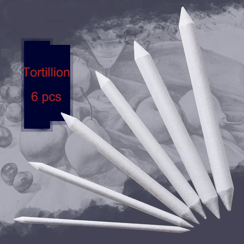 6pcs Double Head Blending Smudge Tortillion Stump Sketch 6 Sizes Art Drawing Tool Pastel