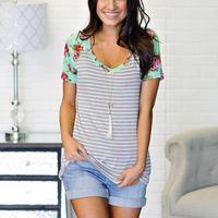 T shirt for women striped short sleeve v neck tshirts cotton summer gray casual top female.jpg 200x200