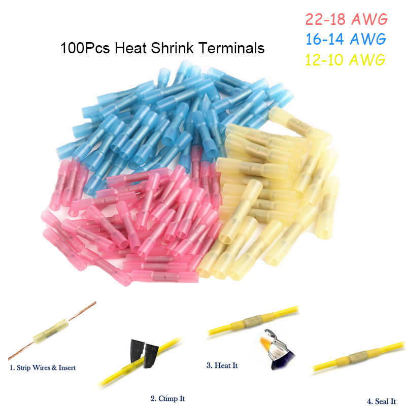 100 pcs/ensemble Étanche Thermorétractables Butt 3 Tailles À Sertir Bornes Isolé Fil Électrique Câble Connecteurs Pour 22-10 AWG