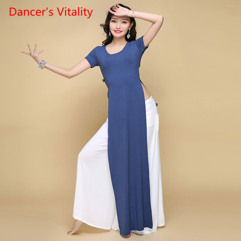 2017Professional Wholesale top cotton Deed Round neck Dance Long section Top Girls Dance Clothes Women Belly Dance Fashion Tops