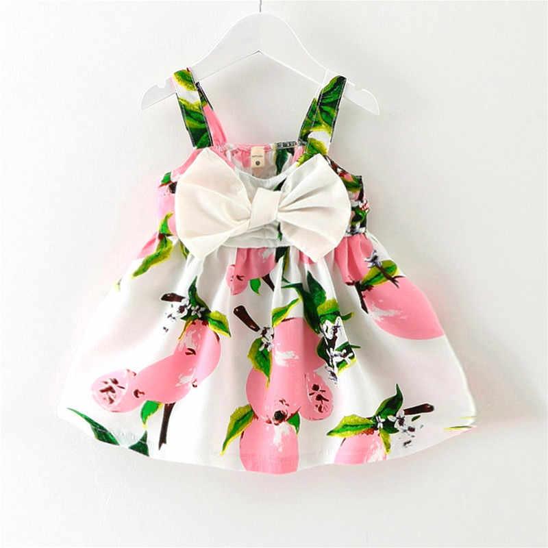 2018 חדש ילדה טהור כותנה שמלת הדפסת לימון מתוק תינוקת של חוף קשתות נסיכת שמלות