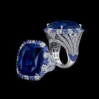 2017 Qi Xuan_Fashion Jewelry_Blue камень простые элегантные женские туфли лодочки на Rings_S925 однотонные Серебристые модные Rings_Manufacturer прямые продажи