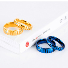 цена на Fashion Titanium Steel Blue Ring Men Simple Jewelry Gold Color Cubic Zircon Rings For Women Enga ement Couple Rings For Lover's