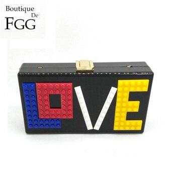 Boutique De FGG LOVE Letters Women Black Acrylic Box Clutch