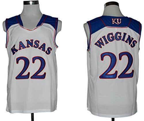 fc5a5002cae ... adidas mens white retro authentic college basketball cheapest stitched  number 22 andrew wiggins kansas jayhawks ku throwback college basketball  jersey ...