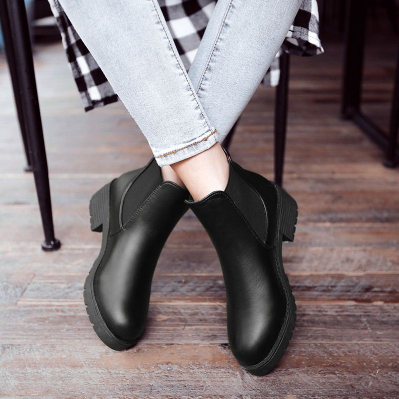 Ladies Ankle Boots Women Square Zapatos Mujer Sexy Short Boots Chunky Ladies  Chelsea Boots Black Shoes Woman Size 35 39 K00042-in Ankle Boots from Shoes  on ... 616019125