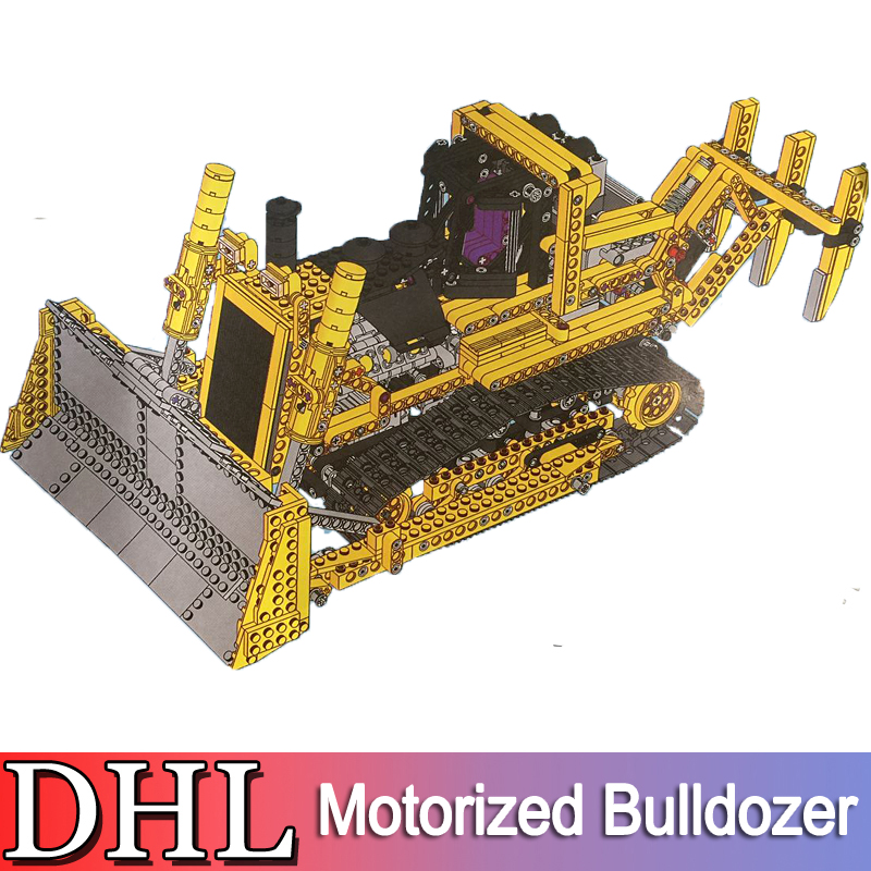 2018 New 1384Pcs Technic Series Model Building Kits Blocks Bricks Motorized Bulldozer Toy For Children Compatible With Gift 8075 free shipping new vehicle blocks camion bulldozer export t