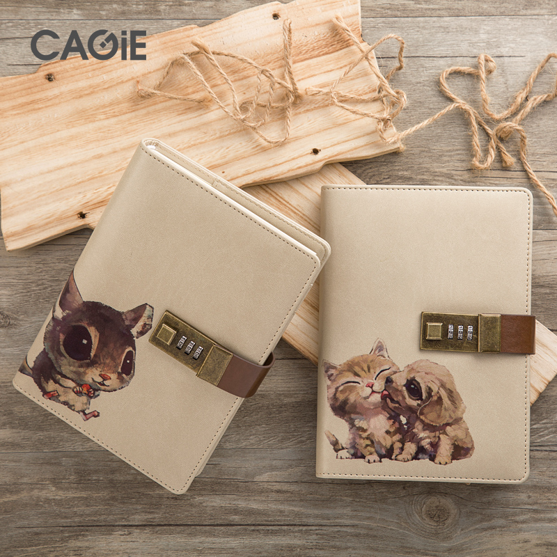 cagie mini notebook b6 diary with lock pocket notebook cute panda/cat diary personal planner diy scrapbooking gift 2018 diary with lock cagie cute diary cloth cover a7 mini notebook lined pages paper notebooks personal journal beautiful notepad