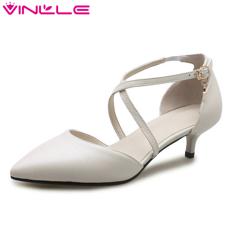 VINLLE 2018 Concise Shoes Women Genuine Leather Thin Med Heel Pointed Toe Platform Ankle Strap Ladies Wedding Pumps Size 34-41
