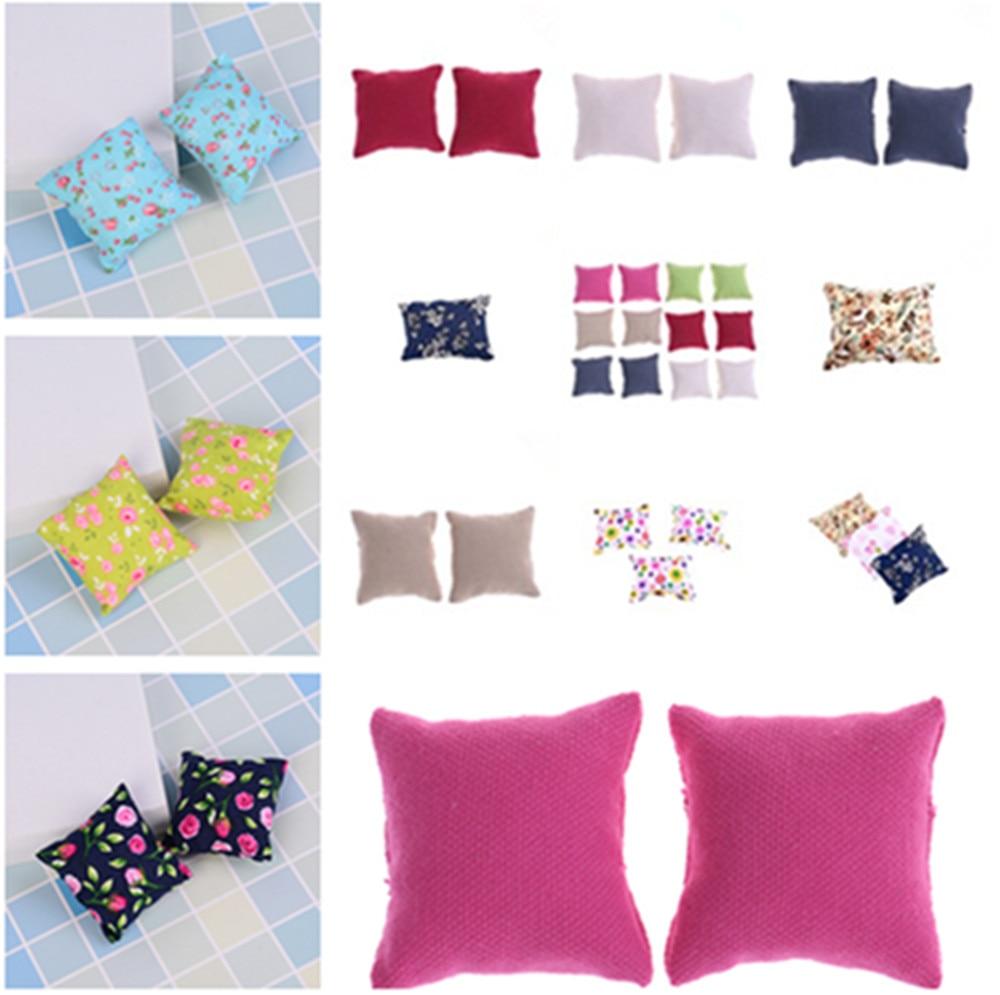 1/2/3Pcs Cute Miniature Dollhouse Furniture Flower Cloth Full Cushions Doll DIY Accessories(China)