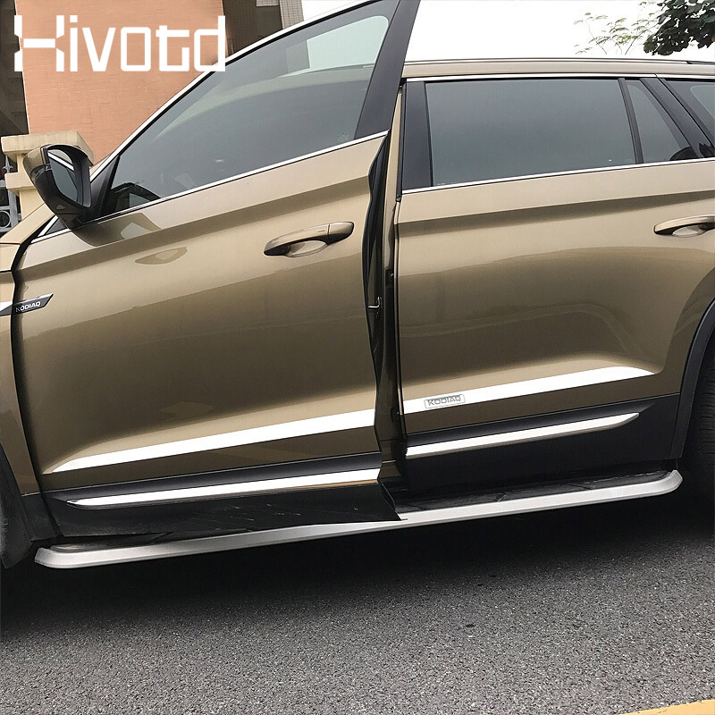 Hivotd For Skoda Kodiaq Exterior Accessories car door edge guard strip scratch protector decoration chromium styling 2017 2019 in Chromium Styling from Automobiles Motorcycles