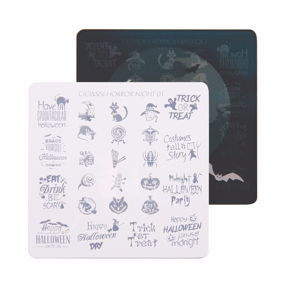 все цены на CICI&SISI Nail Art Stamping Plate Decorations Konad Stamping Manicure Template Stamp Horror night 01-04