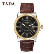 hot deal buy 3atm waterrpoof reloj brand tada men's genuine leather analog watches mens watches top brand luxury shockproof military watches