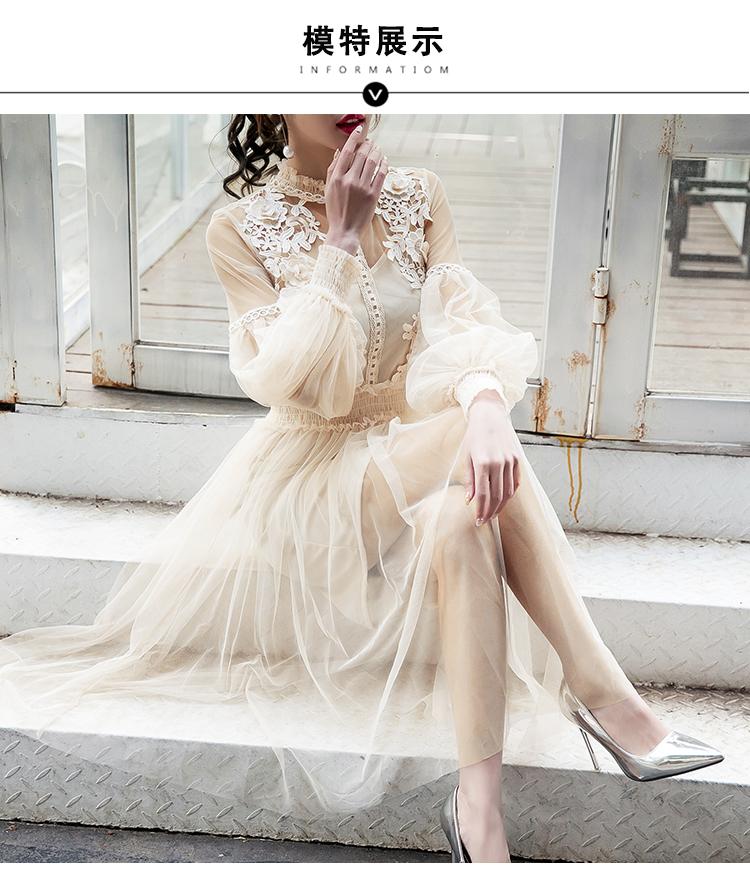 19 New Women Fashion Dress Stand Collar Lantern Sleeve Mesh Dress See-through Lace Embroidery Fairy Dress Femme Vestidos Robe 4