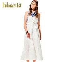 Bohoartist Summer Long Dress Classic White Tassel V Neck Spaghetti Strap Sleeveless Pleated Backless Beach Sexy